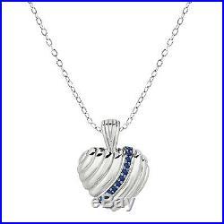 0.22 ct Blue Sapphire 14k White Gold Jewelry Set Ring, Earrings, Pendant