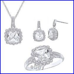 1/10 Ct White Sapphire & Diamond 14K White Gold Over Pendant, Ring & Earrings Set