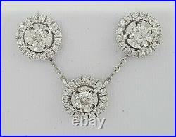 1.15 ct 14K White Gold Halo Round Diamond Stud Earrings & Necklace Pendant Set