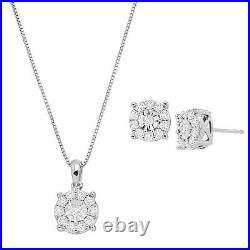 1 ct Genuine Diamond Halo Clustere Pendant & Earring Set In Sterling Silver