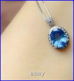 10Ct Oval Blue Topaz Diamond Halo Pendant, Ring & Earring Set 14K White Gold Over
