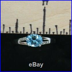 10K Yellow Gold Blue Topaz & Diamond Earrings, Pendant, and Ring (9) Set 3.0 tcw