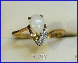 10K Yellow Gold Opal Diamond Set 3Pc Earrings RING Necklace Pendant Jewelry Box
