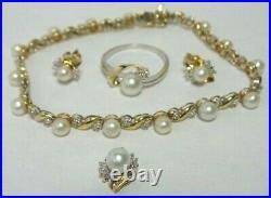 10k 2tone Set Of Pearl & Diamond Tennis Bracelet Pendant Earring & Ring Sz 8