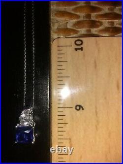 10k White Gold Blue & White Sapphire Ring Earrings Pendant Necklace Set