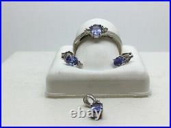10k White Gold Tanzinite Set Ring, Earrings And Pendant