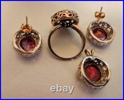 10k White Solid Gold Ring Pendant Earrings Set BEAUTIFUL (B50)