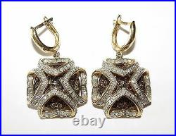 14K 585 Gold White Brown Cognac Champagne Diamonds Earrings Ring Pendant SET