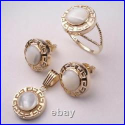 14K Gold Mother of Pearl Greek key design Earrings Pendant and Ring #S198