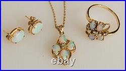 14K Opal Ring earrings and Pendant Set, 2.9