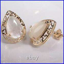 14K Pear Cut Mother of Pearl Earrings Pendant & Ring 12.0 Grams including stones