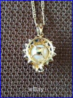 14K Pearl, Sapphire & Diamond Matching Ring, Earrings & Pendant + 18K Gold Chain