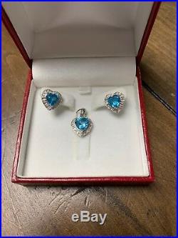 14K White Gold Blue Topaz Heart Shape Diamond Accent Earring & Pendant Set