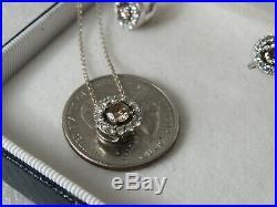 14K White Gold Le Vian Round Halo Chocolate 1/2 c Diamond Necklace 7/8c Earrings
