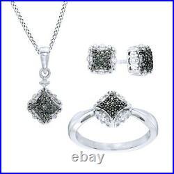 14K White Gold Over Black, White Diamond Accent Square Pendant, Earrings, Ring Set