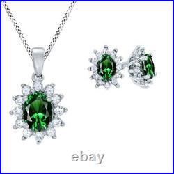 14K White Gold Over Emerald & White Sapphire Frame Pendant & Earrings Set