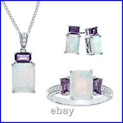 14K White Gold Over Opal, Amethyst & White Sapphire Pendant, Ring & Earrings Set