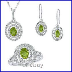 14K White Gold Over Peridot, Diamond Accent Pendant, Ring, Earrings Set