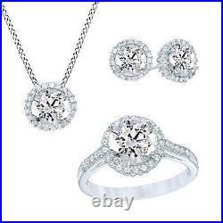 14K White Gold Over White Sapphire Pendant, Ring & Earrings Frame Set