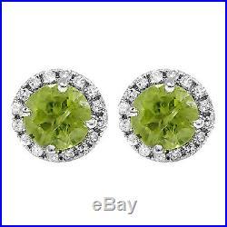 14K White Gold Round Diamond & Peridot Ladies Halo Stud Earrings