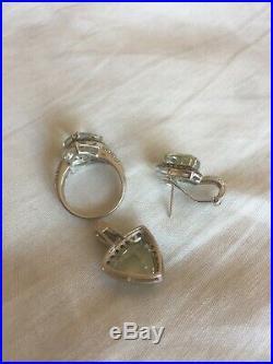 14K White Gold Set Natural Green Amethyst Diamond Ring Pendant & Single Earring