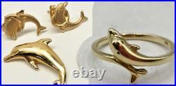 14K Yellow Gold Dolphin RING, PENDANT, & EARRINGS 3.1g