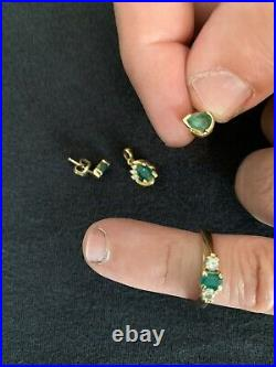 14k/18k gold emerald and diamond set (ring, pendant, earrings)