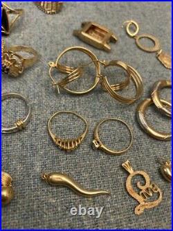14k Gold Jewelry Scrap Lot 54 Grams Sell Wear Rings Pendants Earrings