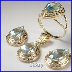 14k Gold Matching Blue Topaz Earrings, Pendant & Ring #s123 $559.00