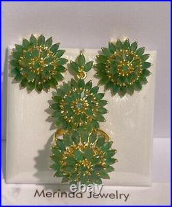 14k Pure Gold Cluster Set Earrings Ring Pendant, Natural Emerald 14.64 grams