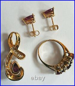 14k Rubellite Tourmaline Diamond Pendant Necklace Rhodolite Garnet Earrings Ring