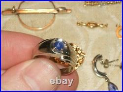 14k Scrap Gold 24.8 Grams Ring Earrings Lobster Clasp Nugget Pendant Opal Lot