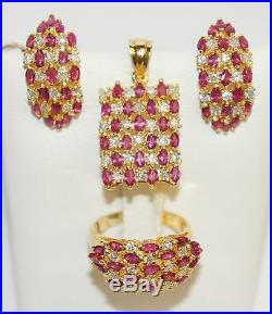 14k Solid Gold Band Ring Earrings Pendant Set Diamond 1.6CT & Ruby 3.5CT