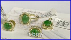 14k Solid Gold Diamond Set Pendant Earrings Ring, Natural Jade. Was $8350