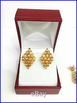 14k Solid Gold Diamond Shape Set Earrings Ring Pendant, Natural Orange Sapphire
