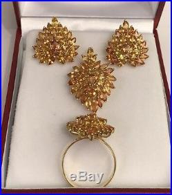 14k Solid Gold Heart Shape Set Earrings Ring Pendant, Natural Orange Sapphire