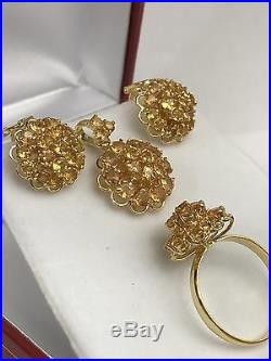 14k Solid Gold Round Cluster Set Earrings Ring Pendant, Natural Yellow Sapphire