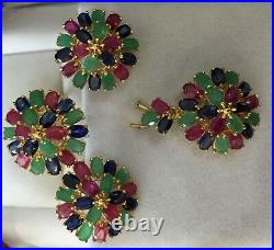 14k Solid Gold Set Earring Ring Pendant with Natural Mixed Ruby Sapphire & Emerald