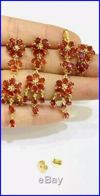 14k Solid Gold Set Earrings Ring Pendant13.20GM/ WithNatural Pear Red Sapphire