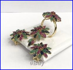 14k Solid Gold StarCluster Flowers Set Earrings Ring Pendant, Natural Mix Stones