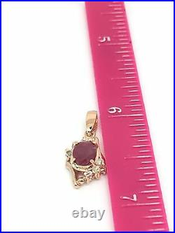 14k Solid Rose Gold Diamond And Ruby Earrings Ring And Pendant Set