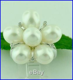 14k Solid White Gold Freshwater Pearl & Natural Diamond Earring pendant ring set