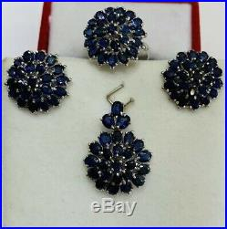 14k Solid White Gold Set Earrings Ring and Pendant with Natural Sapphire 14.40GM