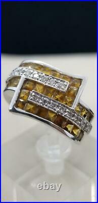 14k Solid White Gold Yellow Citrine Genuine Diamond Ring Earring Pendent Set 20g