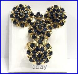14k Solid Yellow Gold Big Flowers Set Earrings Ring Pendant, Natural Sapphire