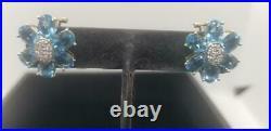 14k Solid Yellow Gold Blue Topaz Genuine Diamond Ring Earring Pendent Set 19.7 g