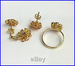 14k Solid Yellow Gold Cluster Pendant Earrings Ring Set, Natural Orange Sapphire