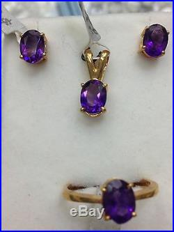 14k Solid Yellow Gold Genuine Amythyst Ring Earring Pendant Set. Amythyst 5ct