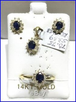 14k Solid Yellow Gold Genuine Sapphire Diamond Halo Ring Earring Pendant Set