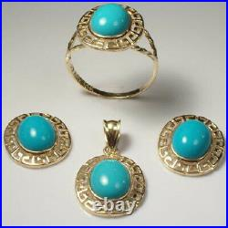 14k Solid Yellow Gold Oval Turquoise Matching Earrings, Ring & Pendant #S112